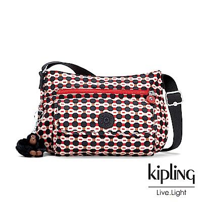 Kipling 節慶感紅黑幾何圖騰掀蓋側背包-SYRO