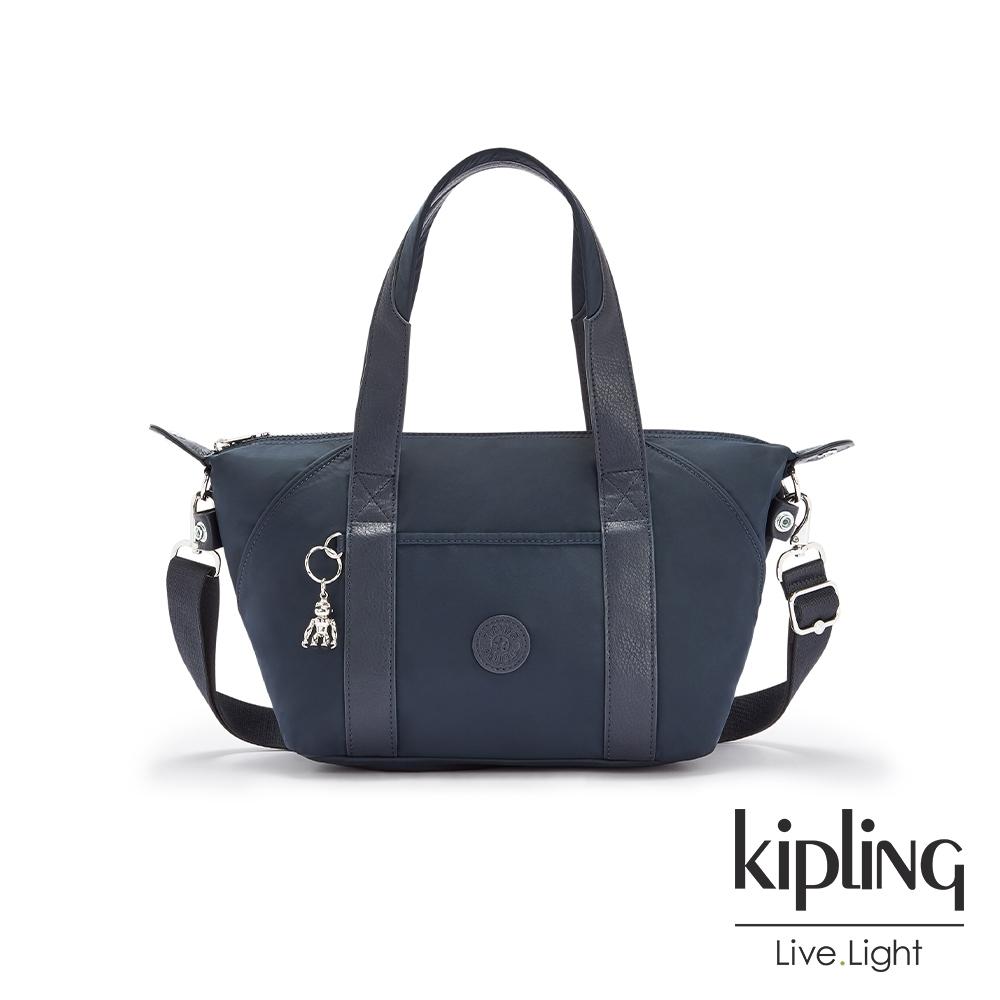 Kipling 質感沉穩藍手提側背包-ART MINI