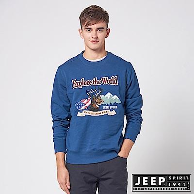 JEEP 探險麋鹿圖騰長袖TEE -藍色