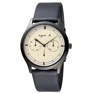 agnes b.小憩時光皮帶時尚腕錶  (VD75-KYF0U)38mm