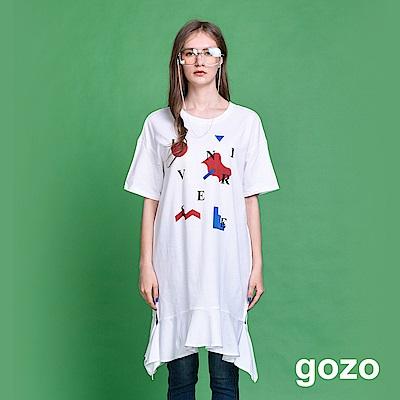 gozo 品牌標語印花長版造型上衣(三色)