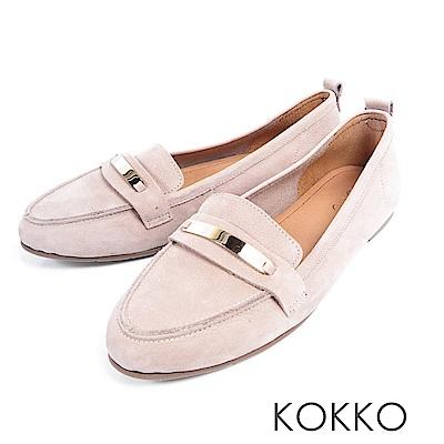 KOKKO - 極致舒適寬楦牛皮平底休閒鞋 -英倫灰