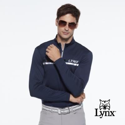 【Lynx Golf】男款合身版壓紋貼條Lynx字樣印花長袖立領POLO衫-深藍色