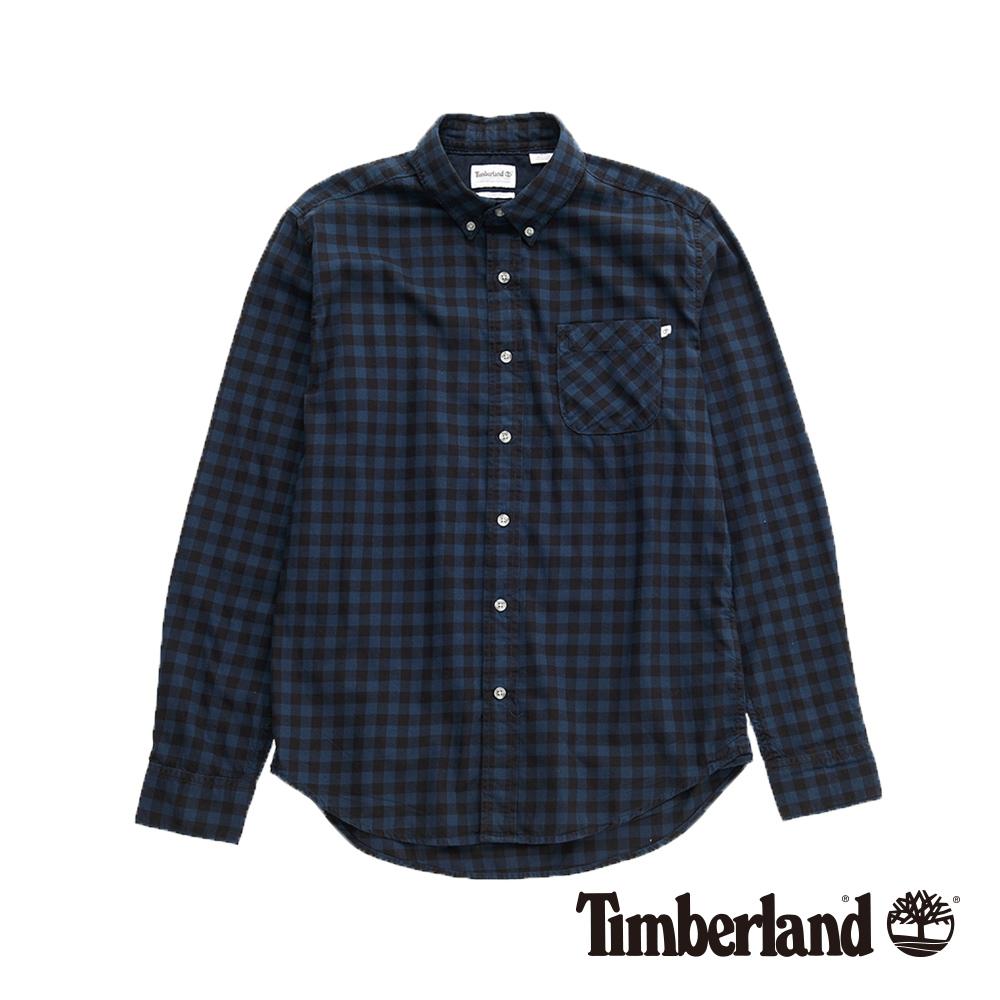 Timberland 男款藍色修身格紋法蘭絨襯衫 A1NMS