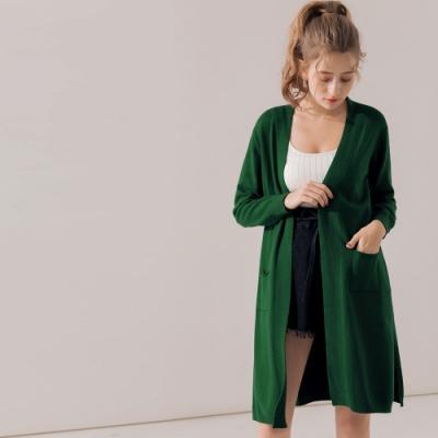 AIR SPACE 舒適質感長版寬鬆罩衫(綠)