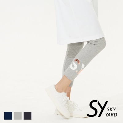 【SKY YARD 天空花園】彈性撞色字體印花內搭褲-淺灰