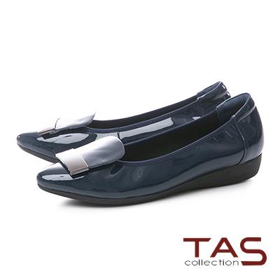 TAS金屬一字造型漆皮尖頭娃娃鞋–深海藍