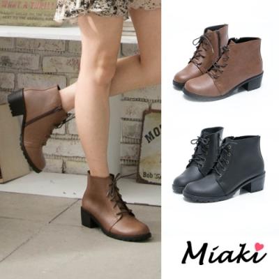 Miaki-踝靴.MIT綁帶英倫粗跟短靴