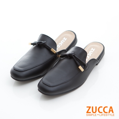 ZUCCA-金屬綁繩環扣紳士拖鞋-黑-z6819bk