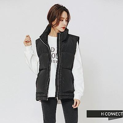 H:CONNECT 韓國品牌 女裝-保暖立領鋪棉背心-黑