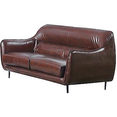 品家居 薛瑟夫工業風油臘皮革獨立筒二人座沙發椅-170x92x86cm免組