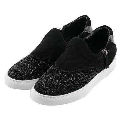BESO耀眼弧度 燙鑽雙拉鏈休閒鞋~黑