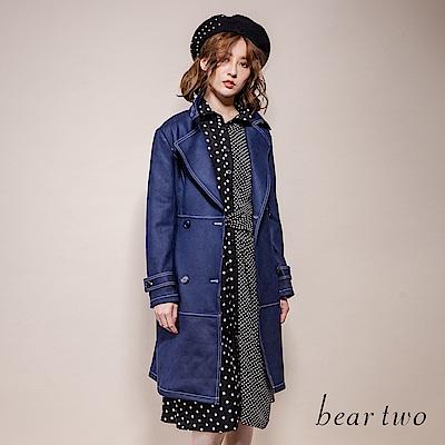 beartwo 大小波卡點點拼接浪漫鏤空蕾絲洋裝(黑色)
