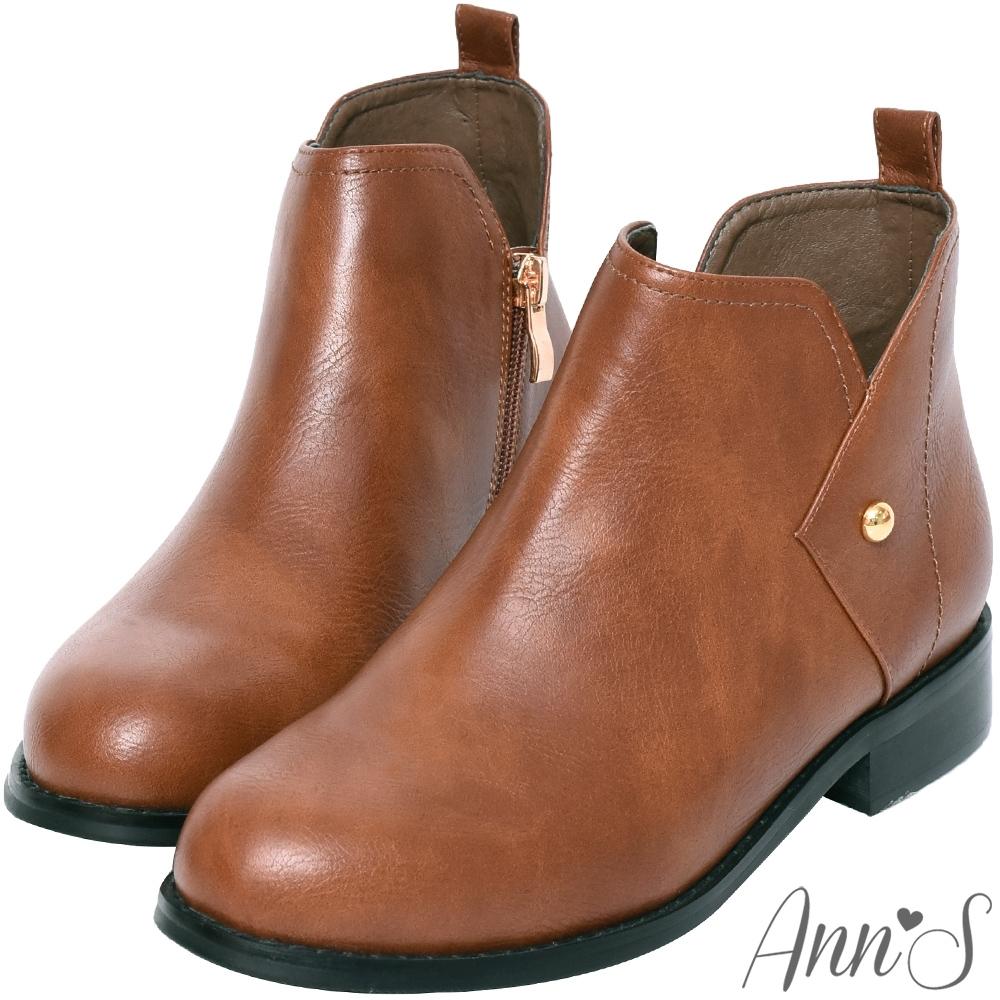 Ann'S型格主張-側V口金色小鉚釘平底短靴-咖