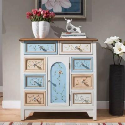Asllie艾莉莎手工彩繪一門八抽櫃/收納櫃/玄關櫃-90x38x91cm