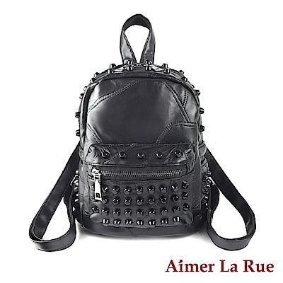 Aimer La Rue 迷你後背包 羊皮龐克迷你系列(黑色)