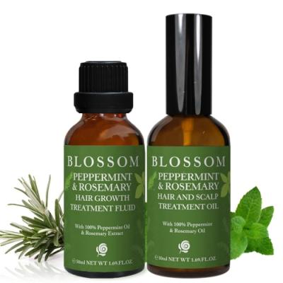 BLOSSOM 薄荷迷迭香頭皮護理賦活煥髮組-頭皮按摩油+養髮液(共二罐)