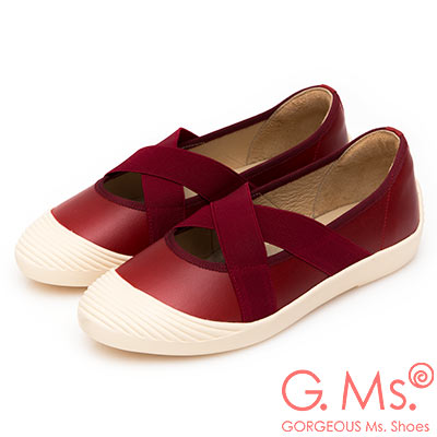 G.Ms. MIT系列-貝殼頭牛皮交叉鬆緊帶休閒便鞋-紅色