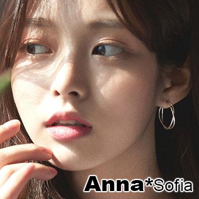 AnnaSofia 交叉雙線C圈 925銀針耳針耳環(銀系)