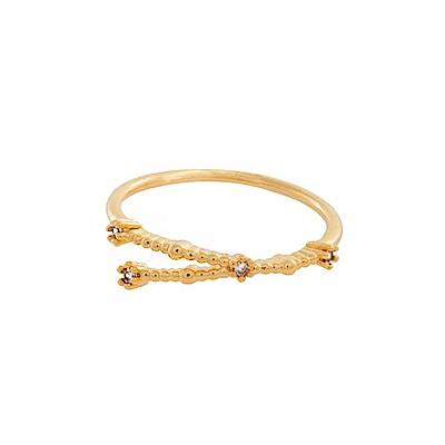 Wanderlust+Co 澳洲時尚品牌 水鑽十二星座系列 巨蟹座金色戒指