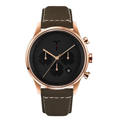 TYLOR急速潮流三眼腕錶-咖啡X黑(TLAC005)/43mm