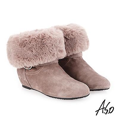 A.S.O 內增高 腿型修飾心機美靴 灰褐