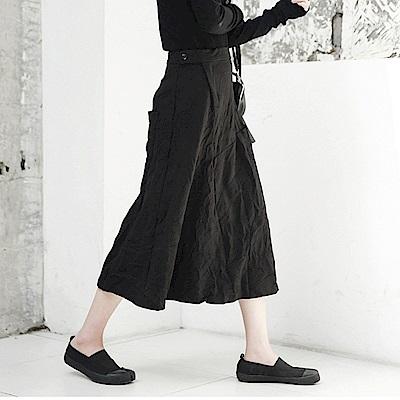 新款簡約褶皺錦棉彈力中長裙/設計所在Q-193