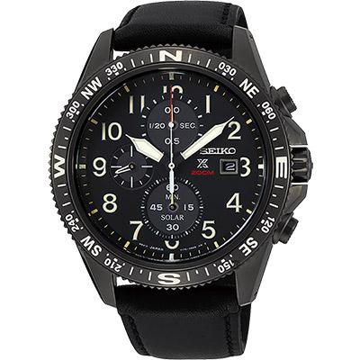 (無卡分期6期)SEIKO精工 PROSPEX 太陽能計時手錶(SSC707P1)-黑/44mm
