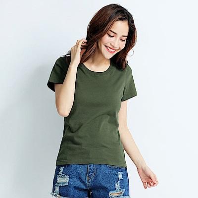 101原創 經典水洗原色圓領素T恤-女-軍綠