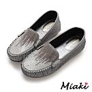 Miaki-豆豆鞋水鑽內增高休閒鞋-灰