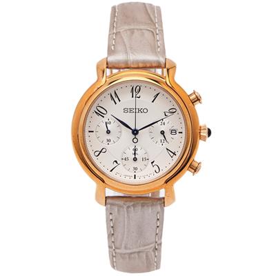 SEIKO 古典風三眼計時女性皮革手錶( SRW872P1)-銀白面/35mm