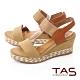 TAS一字鬆緊帶箭紋草編楔型涼鞋-焦糖卡其 product thumbnail 1
