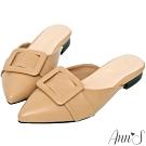 Ann'S難追的小姊姊-氣質素面方扣平底尖頭穆勒鞋 -棕(版型偏小)