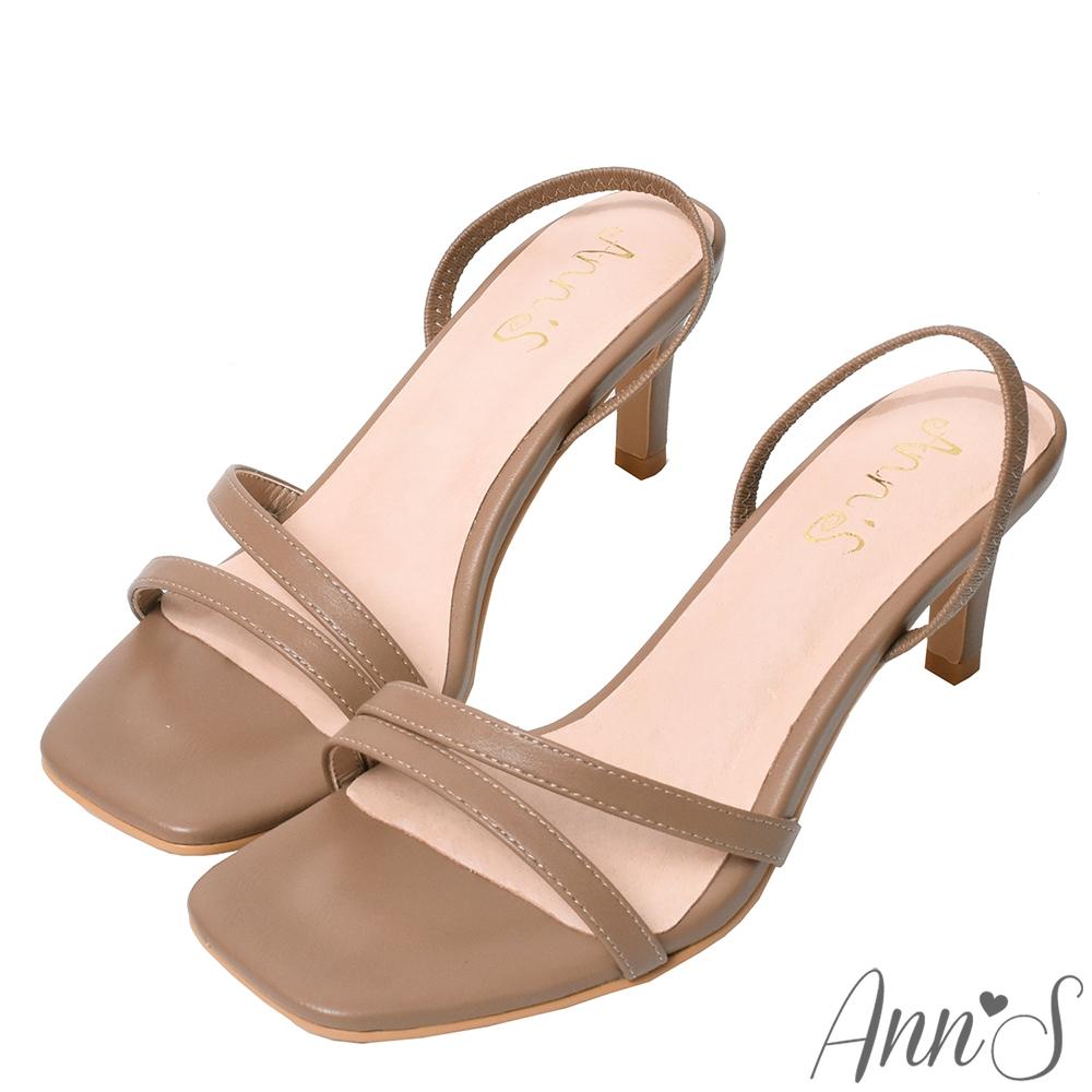 Ann'S重塑氣質-簡約細帶後拉帶細跟方頭涼鞋-咖