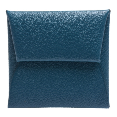HERMES 經典Bastia系列MYSORE山羊皮方型暗釦零錢包(綠藍)