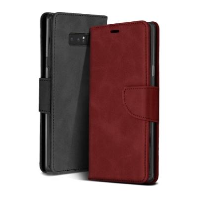 三星 Galaxy Note 8 復古 素色 可插卡 翻蓋 磁吸 手機 皮套 支架 軟邊 手機殼 黑色款 (Samsung Note 8手機殼 Note 8保護殼)