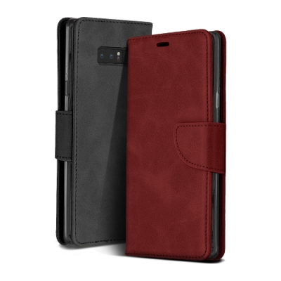 三星 Galaxy Note 8 復古 素色 可插卡 翻蓋 磁吸 手機 皮套 支架 軟邊 手機殼 紅色款 (Samsung Note 8手機殼 Note 8保護殼)