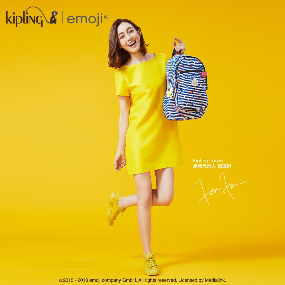 Kipling 後背包 Emoji系列香蕉吊飾 條紋圖案-大