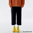 H UNDERSCORE 全新潮牌 女裝 - 簡約抽繩純色休閒寬褲 - 黑色