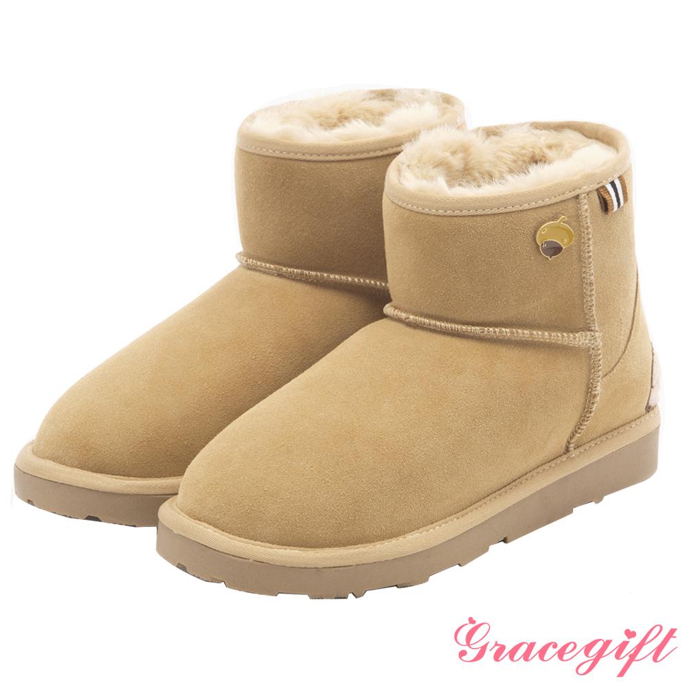Disney collection by grace gift-立體毛呢織帶雪靴 杏
