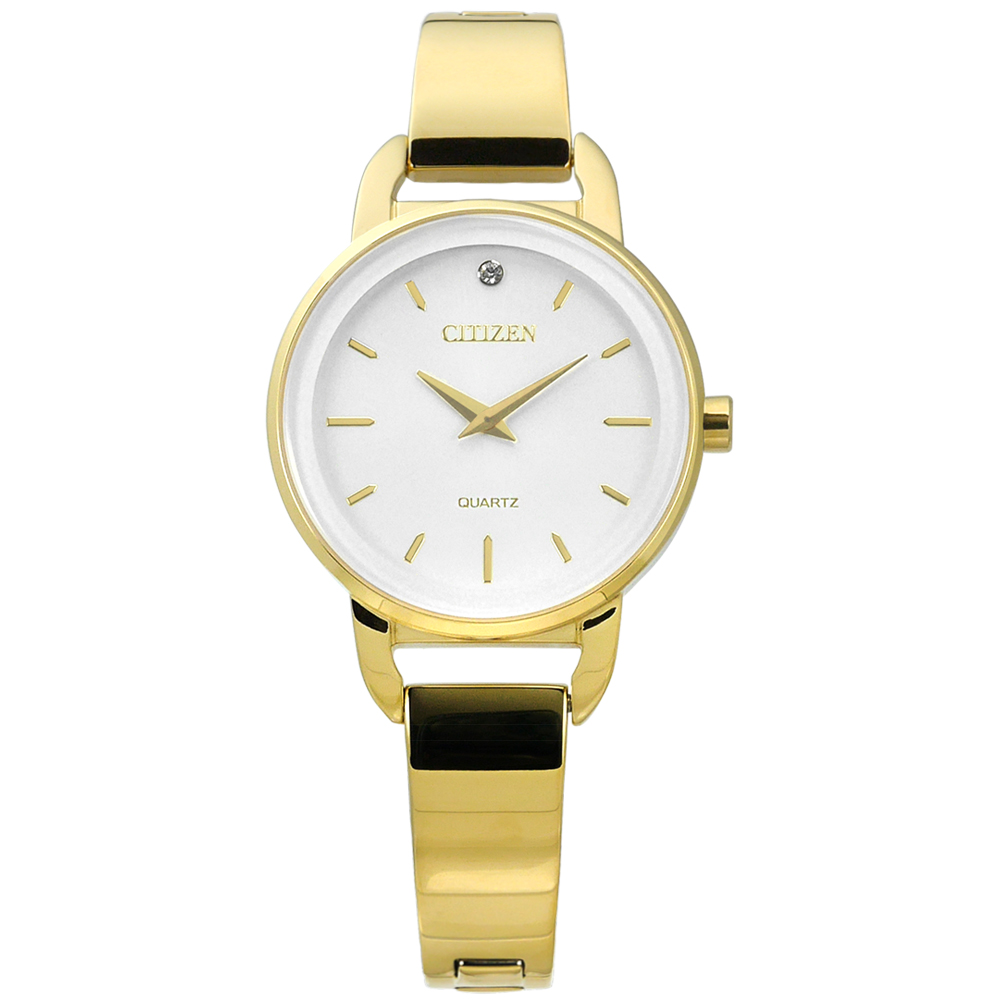 CITIZEN 名媛晶鑽礦石強化玻璃日本機芯不鏽鋼手環手錶-銀白x鍍金/26mm