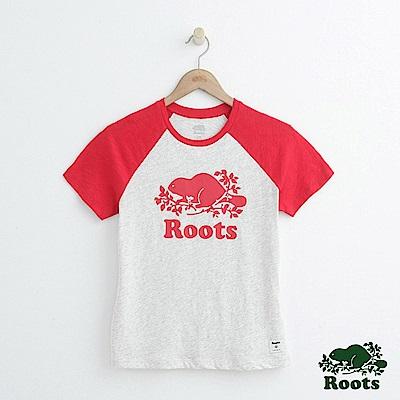 女裝Roots 短袖棒球T恤-白