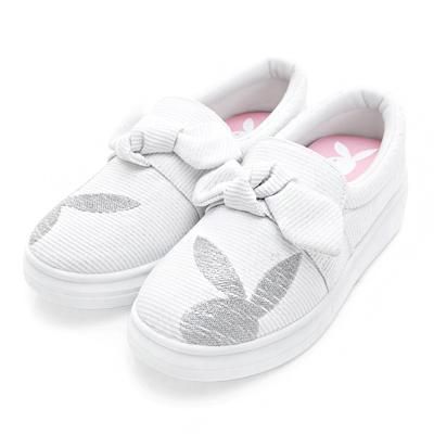 PLAYBOY可愛甜心 蝴蝶結銀蔥厚底休閒鞋-白