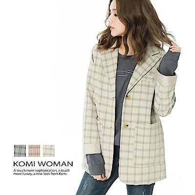 【KOMI】復古格紋西裝外套‧全裡(三色)