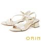 ORIN 羊皮斜邊造型中粗跟 女 涼鞋 白色 product thumbnail 1