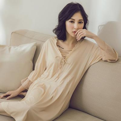 潘朵拉神秘戀人-V領前胸交叉綁帶睡衣 H0276(膚)