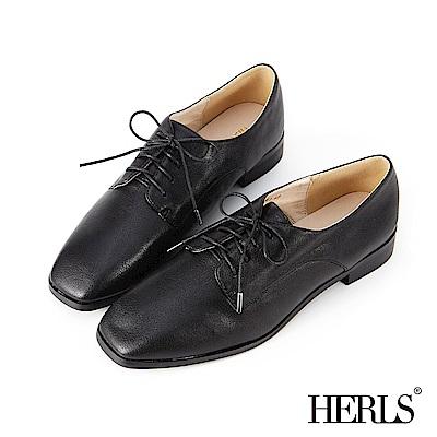 HERLS 經典百搭 內真皮素面方頭牛津鞋-黑色