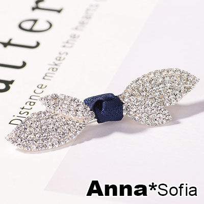 AnnaSofia 滿鑽飄葉蕊結 純手工小髮夾邊夾(深藍結-淡金系)