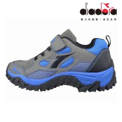 Diadora 兒童防潑水越野跑鞋 大童 加寬楦 灰藍 DA8AKO6358