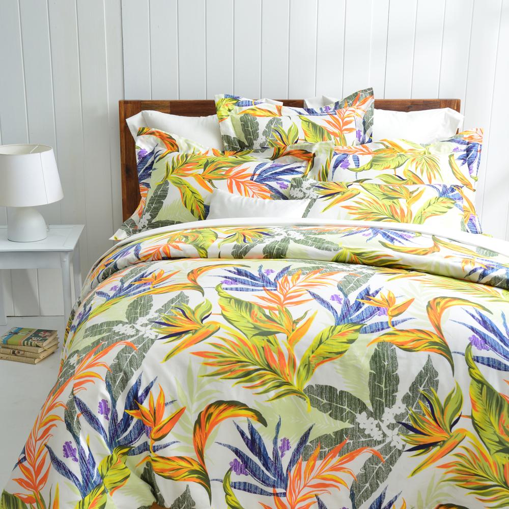Cozy inn 天堂-綠 特大四件組 300織精梳棉薄被套床包組